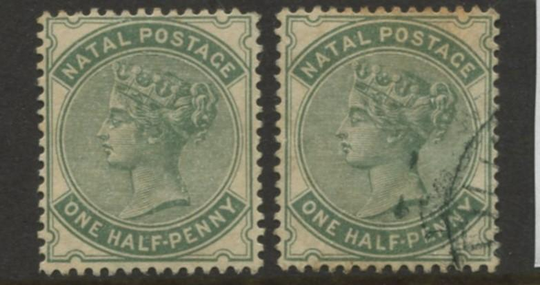 Natal -Scott 66 - QV Definitive-1882 -Mint/Used  - Wmk 2 - 1/2p Stamps