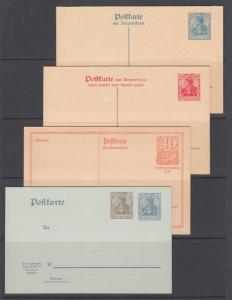 Germany H&G 71,122,123,144 unused. 1906-21 Postal Reply Cards, 4 different, F-VF