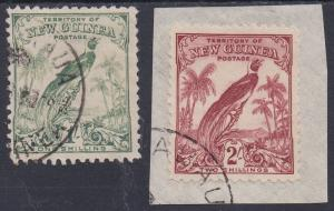 NEW GUINEA 1932 UNDATED BIRD 1/- AND 2/- USED