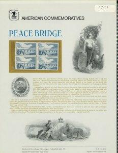 USPS COMMEMORATIVE PANEL #81 PEACE BRIDGE #1721