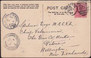 NEW ZEALAND 1905 postcard ex UK - TRAVG PO NEW PLYMOUTH RAILWAY cds.........2767