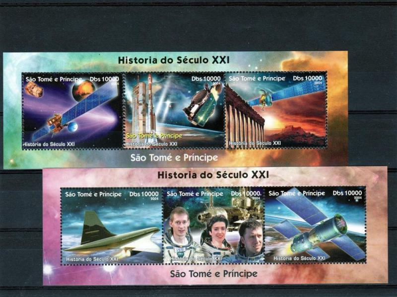 Sao Tome and Principe 2004 Halley's Comet/Space Compound (3) Perf.MNH