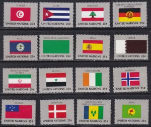 United Nations - New York #  528-543, Member Nations Flags, NH, 1/2 Cat.