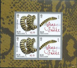Turks & Caicos - Year of the Snake - 4 Stamp Sheet - TAC1301H