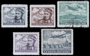 Czechoslovakia Scott C20-C23, C25 (1946-47) Mint/Used H F-VF B