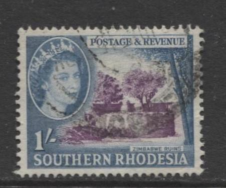 Southern Rhodesia- Scott 89 - QEII Definitives -1953 - Used- Single 1/- Stamp