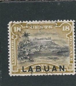 LABUAN 1894-96 18c OLIVE-BISTRE PERF 13½-14 LIGHTLY USED SG 72a CAT £70