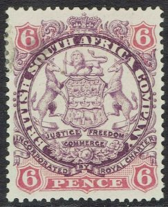 RHODESIA 1896 ARMS 6D PART SHADED LION