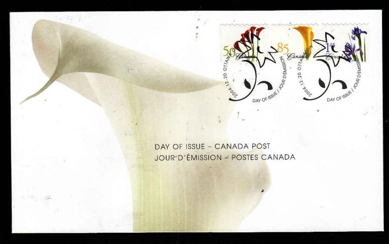 Canada-Sc#2072-4-stamps on FDC-Coils-Flowers-2004