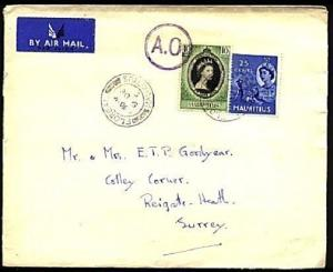 MAURITIUS 1953 cover FLOREAL to UK, airmail - scarce AO marking............70956
