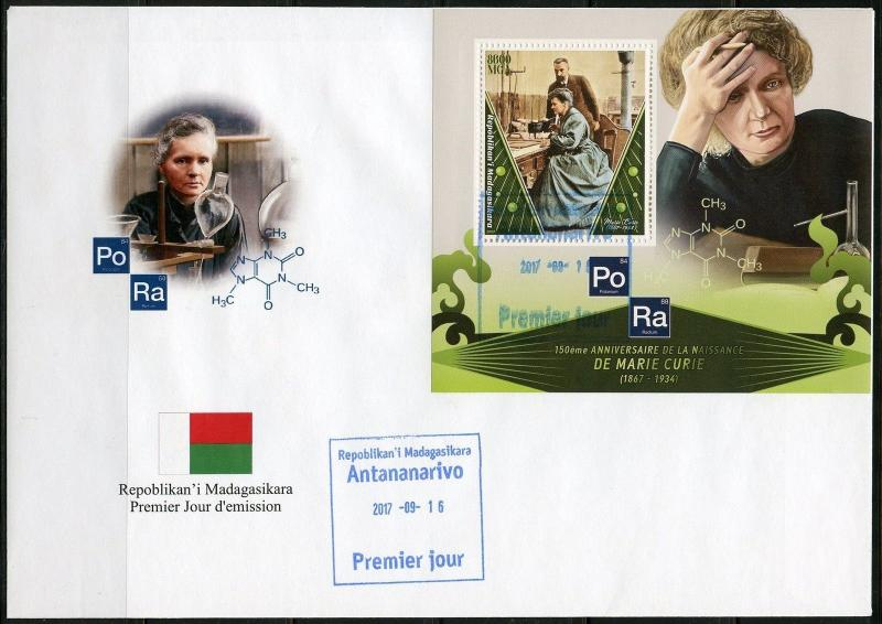 MADAGASCAR 2017 150th BIRTH OF MARIE CURIE SOUVENIR  SHEET FIRST DAY COVER