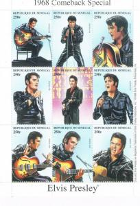 Senegal 1350 MNH 1968 Elvis Comeback Sheet of 9 (ML0287)