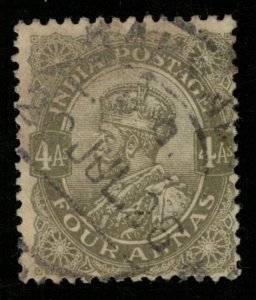 India, 4 Annas, 1911-1912, King George V, YT #87, Watermark (T-6054)