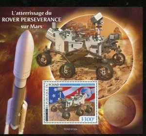CHAD  2021 LANDING OF PERSERVERANCE ON MARS SOUVENIR SHEET MINT NEVER HINGED