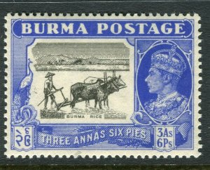 BURMA; 1946 early GVI issue fine Mint hinged 3a. 6p. value