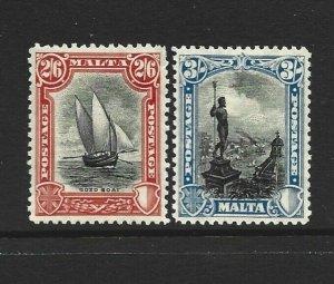 Malta Scott 144-145 Shilling issues unused hinged  2016 cv $39.00