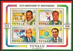 Tuvalu 1998 MNH Sc #788a Sheet of 4 Prime Ministers - 20th Ann Independence