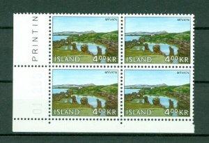 Iceland. 1966  Landscapes I  4 Kr,Mnh. Plate # 011298. Block of 4. Scott# 381.