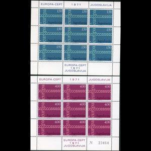 YUGOSLAVIA 1970 - Scott# 1052A-3A Sheets-Europa NH