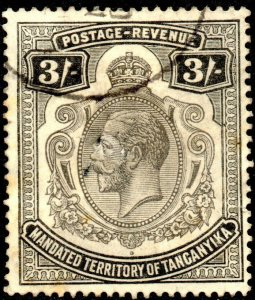 1927 Tanganyika Sg 104 British Mandated Territory 3s black Spacefiller