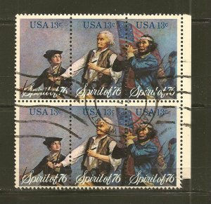 USA 1631a Spirit of 76 Se-tenant Block of 6 Used