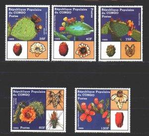 Brazzaville. 1989. 1156-60. cacti. MNH.