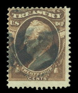 US  1873  Officials  - TREASURY - 24c brown  Scott # O80 used