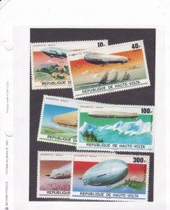 Burkina Faso # 395-397 & C234-236, Zeppelin 75th Anniversary, Used CTO, 1/2 Cat.
