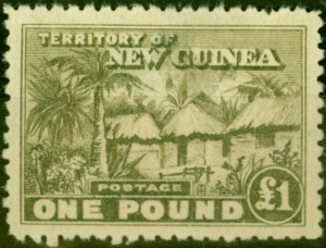 New Guinea 1925 £1 Dull Olive-Green SG136 Ave Mtd Mint