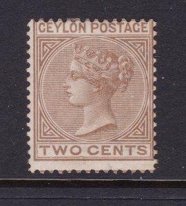 Ceylon a MNG QV 2c crown CC watermark perf 14