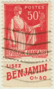 FRANCE - 1933 pub LISEZ BENJAMIN sur Yv.283 50c Paix t.I (A4)