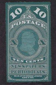 SC# PR2b UNUSED 10C NEWSPAPER PERIODICAL-PELURE PAPER, NGAI 1865, 2020 PSAG CERT