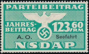 Stamp Germany Revenue Seefahrt WWII 1939 3rd Reich War Era Party Due 123.60 MNG