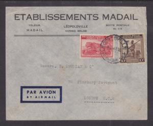 Belgian Congo Sc 205, 219 on 1947 Air Mail cover to London