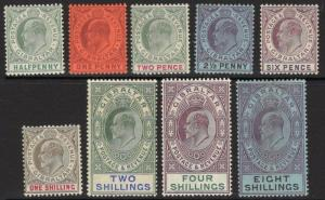 GIBRALTAR SG46/54 1903 WMK CROWN CA SET TO 8/- MTD MINT