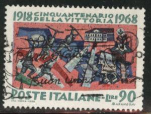 Italy Scott 994 Used 1968 creased stamp