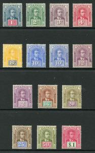 Sarawak SG50/61 1918 Set (no wmk) inc shades M/Mint (hinge remainder)