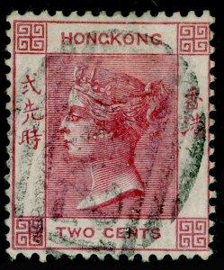 HONG KONG SG28, 2c dull rose, FINE USED. Cat £40. WMK CC.