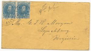 CSA Scott #4 Pair Stone 2 Position 27-28 on Cover Water Valley, MS June 27, 1862