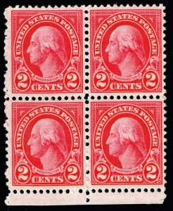 US STAMP #634 2c Rotary Press 1926-28 MNH BLK OF 4