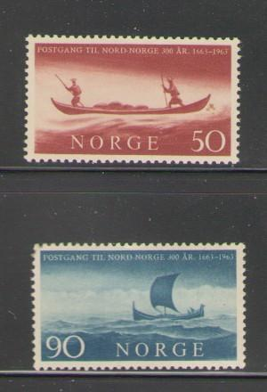 Norway Sc 437-8 1963 boats postal service stamps mint NH