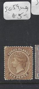 TURKS  ISLANDS (P3009B)  QV  6D  SG 59  MOG