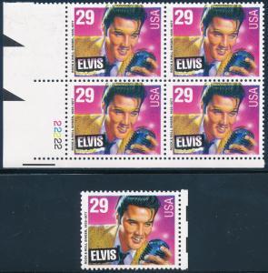 #2721 VAR ELVIS PLATE # BLOCK OF 4, MAJOR COLOR SHIFT ERROR WL3017