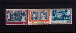PHILIPPINES Sc PH-2 (x 3) MNH,Og 1968 KENNEDY FAMILY Rare Perforated Issues VF