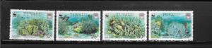 WWF - TUVALU BLUE CORAL #617-620  MNH