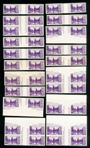 US Stamps # 770a XF Lot of 50 horiz. pairs w/ vert. gutters Scott Value $525.00