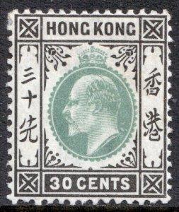 Hong Kong KEVII 1903 30c Dull Green Black SG70 Mint MLH