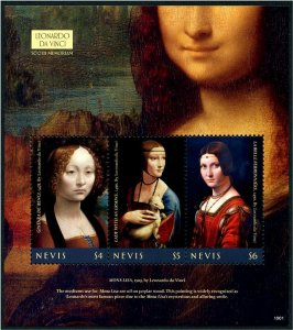 2020 Nevis Leonardo Da Vinci Paintings  MS3 (Scott NA) MNH