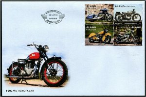HERRICKSTAMP NEW ISSUES ALAND Sc.# 409 Motorcycles Block FDC