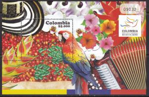 Colombia, Fauna, Birds, Flowers MNH / 2010